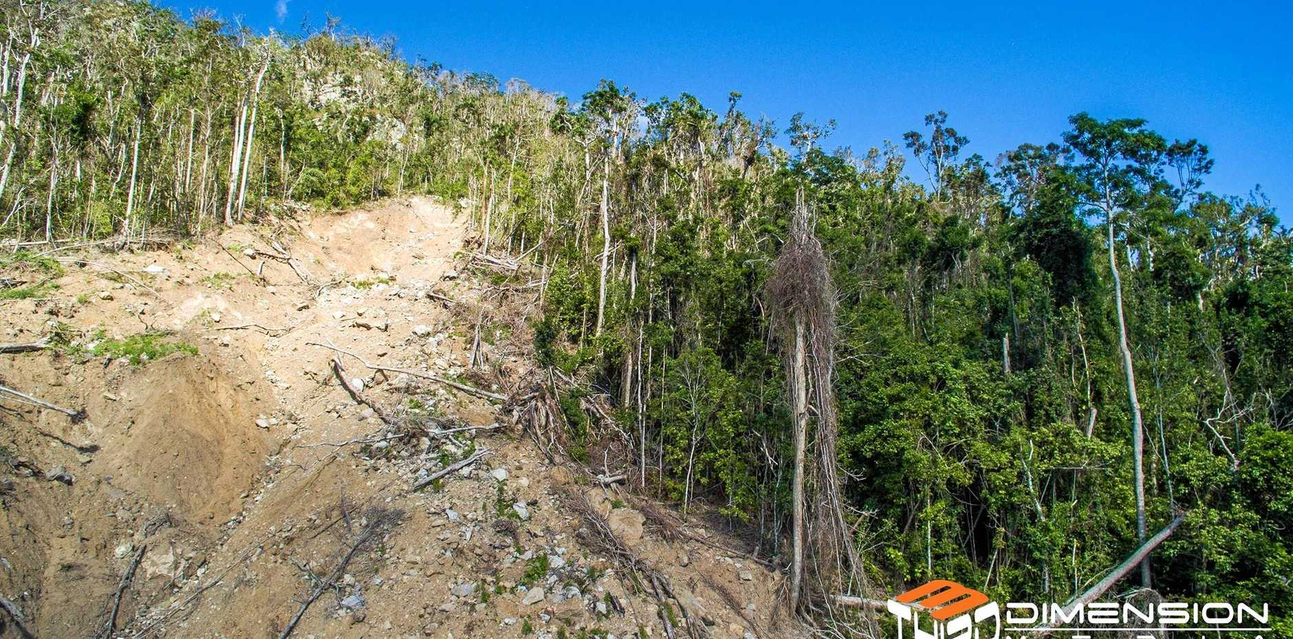 Queensland Parks and Wildlife say the chance of future landslips above Cannonvale are 'very low'. Photo: Th3rd Dimension Media