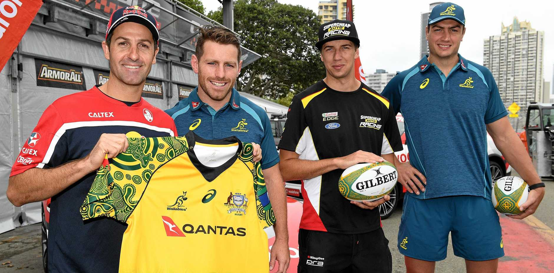 Supercars drivers Jamie Whincup (left) and Chaz Mostert (2nd right) during a media call with Australian Wallabies players Bernard Foley (2nd left) and Rob Simmons (right) in Surfers Paradise on the Gold Coast. The Gold Coast 600 Supercars race and Bledisloe Cup rugby union match will be held this weekend.