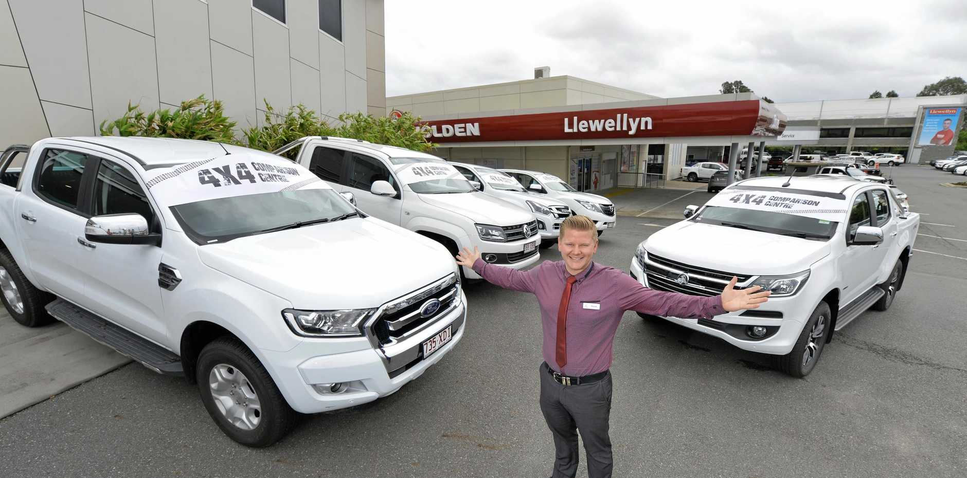TAKE YOUR PICK: Llewellyn Motors sales consultant David Norton with utes  at the new 4x4 comparison centre.