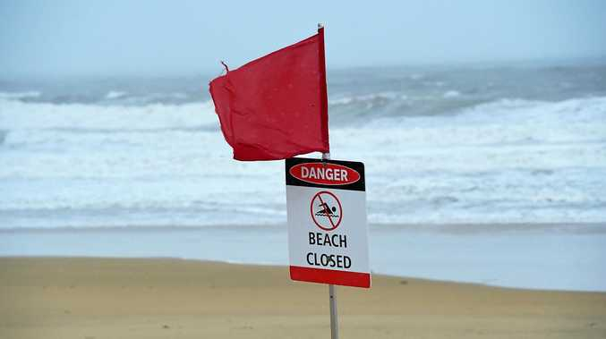 CLOSED: Wet and windy conditions closed Mooloolaba Beach yesterday.