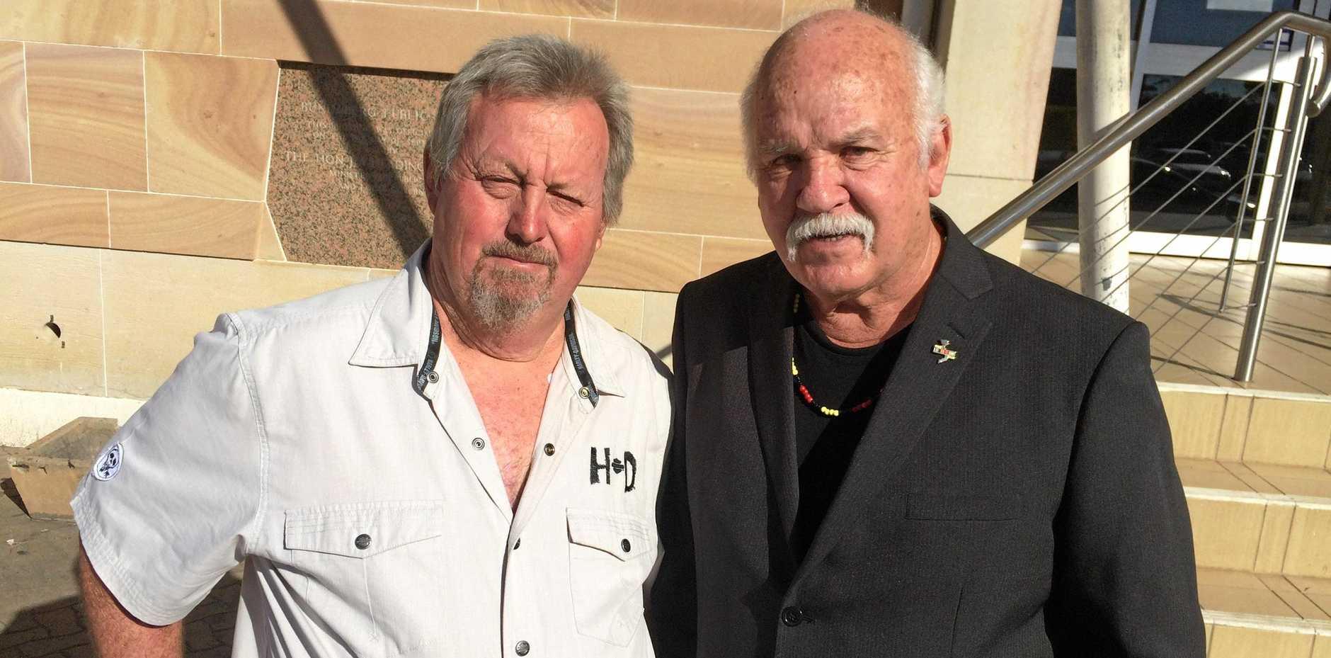 HEAVY FINE: Phillip Hunt and Roger Saunders outside court.