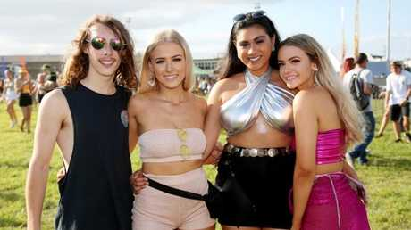 Grass is Greener festival at Cairns Showgrounds. Dylan Hards, Paige Gould, Natalie Omer and Role Saayman.