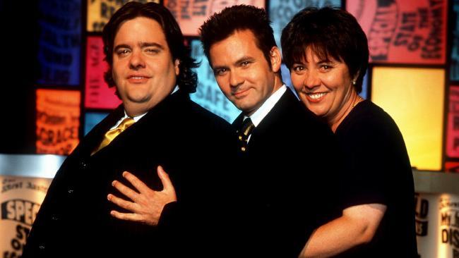Good News Week team: Mikey Robins, Paul McDermott and Julie McCrossin.Source:News Corp Australia