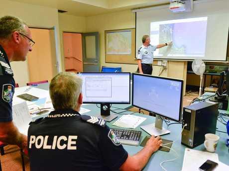 Inspector Darren Somerville in the incident room for the missing sailors.