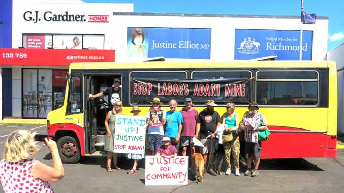 TAKING A STAND: Protesters against Adani outside Justine Elliot's office in Tweed South this week.