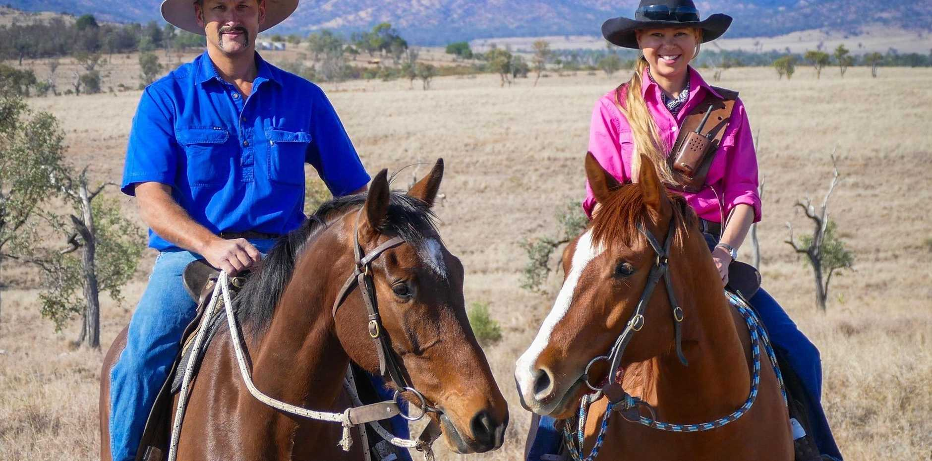 RIDING HIGH: Dan and Holly Dzundza, Penjobe Pastoral, Springsure, Queensland run an organic beef operation.