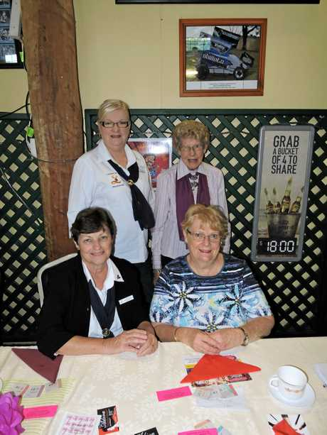 Maryborough Lioness Club members (standing from left) Dianne Hasselbach, Von Fisher, (seated from left) Jacinta Mathiesen and Gloria Chay supported the Look Good Feel Better annual high tea fundraiser at the Maryborough Sports Club.