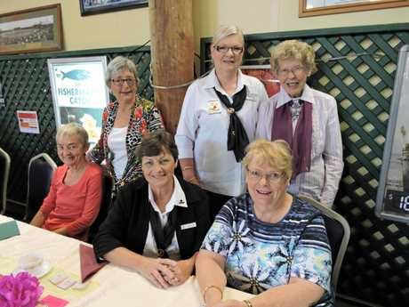 RIGHT: Maryborough Lioness Club members (standing from left) Dianne Hasselbach, Von Fisher, (seated from left) Jacinta Mathiesen and Gloria Chay with guests (far left standing) Anne Kearse and (far left seated) Jen Ballard supported the Look Good Feel Better annual high tea fundraiser at the Maryborough Sports Club.