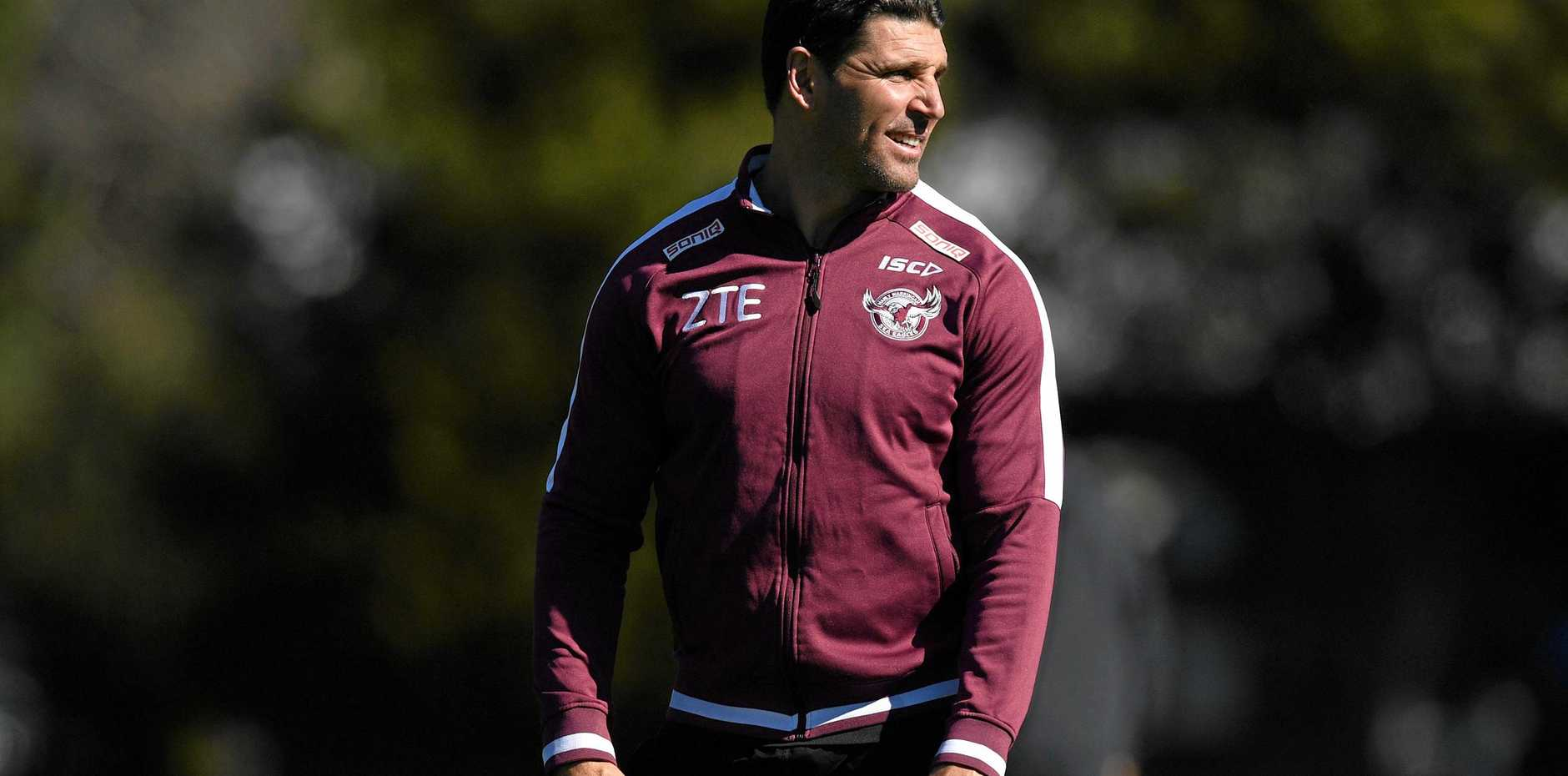 Manly Sea Eagles coach Trent Barrett looks on during a training session at Narrabeen
