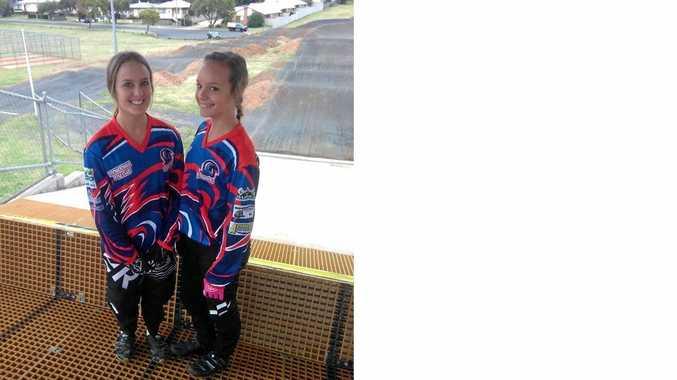 Toowoomba BMX Club riders Carissa and Katelyn Osborne.