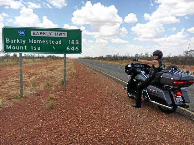 CREATING AWARENESS: Greg Kelly, who has younger onset dementia, rode his Harley Davidson through Rockhampton on his way around Australia to fundraise for a cure.