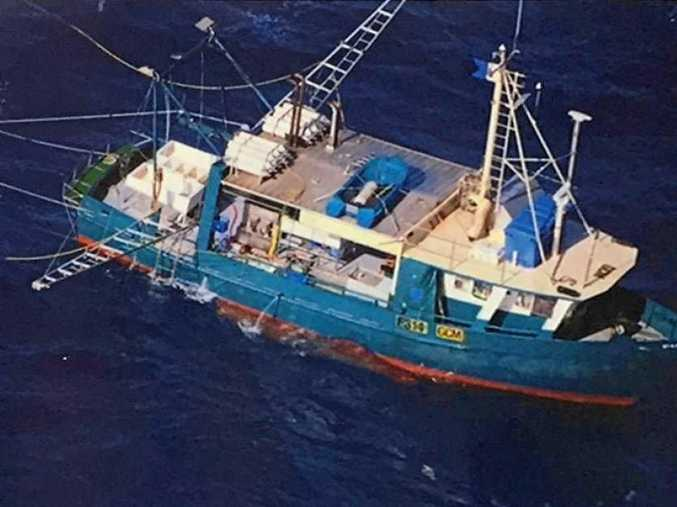 The fishing trawler, Dianne, which capsized north of Bundaberg yesterday.