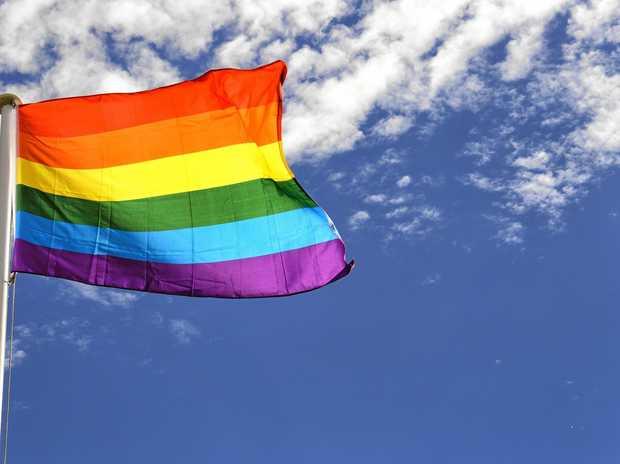 FLYING: The rainbow flag.