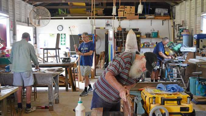 Background: Allen Grant, (far right) Vic Fisher. Forground, Les Klingner and Mick Conway at the   Iona West Mens Shed.