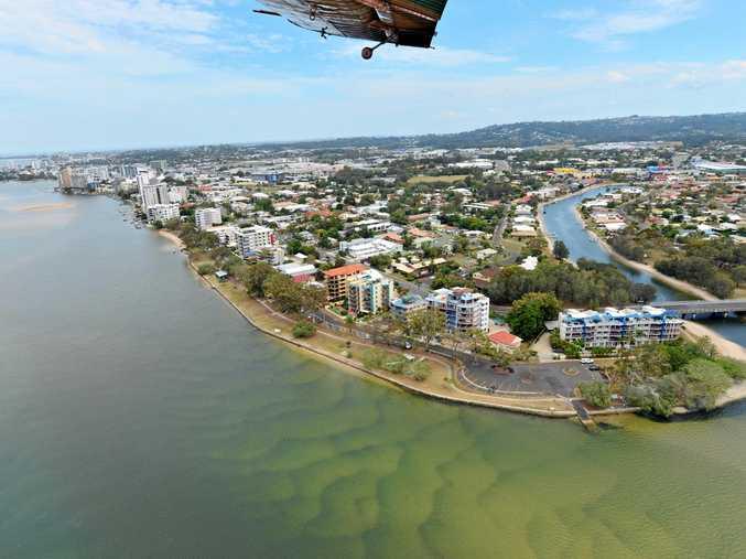 Aerial photographs of the Sunshine Coast. Maroochy River. Chambers Island. Bradman Avenue and Picnic Point Esplanade.