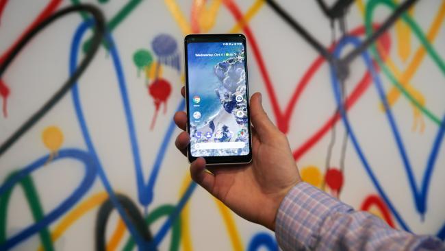 The new Google Pixel 2 XL smartphone has 'squeezable' sides. Picture: AFP PHOTO / Elijah Nouvelage