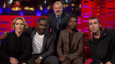 Host Graham Norton (behind) with (left to right) Kate Winslet, Idris Elba, Chris Rock and Liam Gallagher during filming of the Graham Norton Show at the London Studios