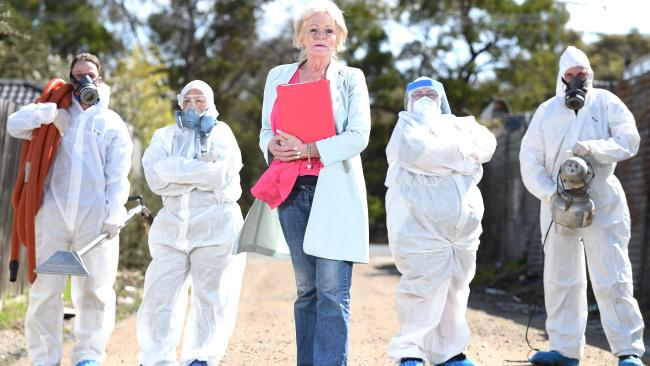 Sandra Pankhurst and her team of cleaners dress in disposable suits and masks, except for Sandra who enters any home undaunted.