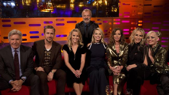Host Graham Norton with (seated left to right) Harrison Ford, Ryan Gosling, Reese Witherspoon, Margot Robbie, Keren Woodward, Sara Dallin and Siobhan Fahey of Bananarama during filming of the Graham Norton Show.