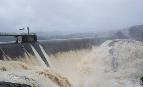 Wappa Dam overflows following days of heavy rain.