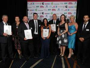 WINNERS: L-R Ross Fraser-Industry Excellence Award, Team Transport and Logistics (Brett Seers, Kylie Wilkinson, Heath Skinner)-People Leadership Award, Errin-Leigh Ebzery (Joint Young Achiever Winner), Mark Waddington-Driver of the Year, Belinda Polglase-Trucking Woman of the Year, Karen McTainish-Followmont Transport (Industry Safety) Rodolfo Morales-Diaz (Young Achievers)