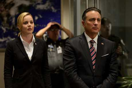 Abbie Cornish and Andy Garcia in a scene from Geostorm.