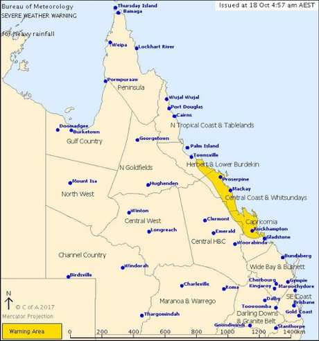 Bureau of Meteorology have issued a severe weather warning today for Capricornia, Central Coast and Whitsundays and parts of Herbert and Lower Burdekin