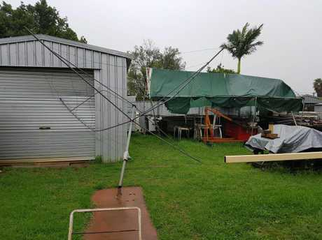 Denis Greentree's backyard was destroyed by the strong winds in Toowoomba.