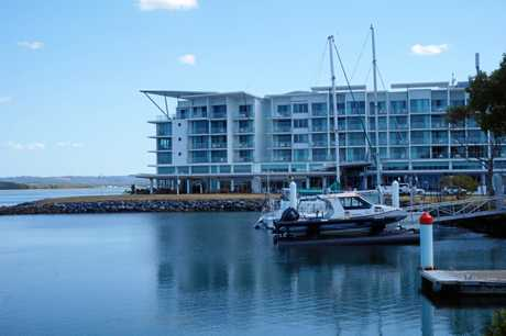 The Ramada Hotel is on the water at Ballina.