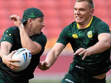 Billy Slater (left) and Jake Trbojevic during training in Brisbane
