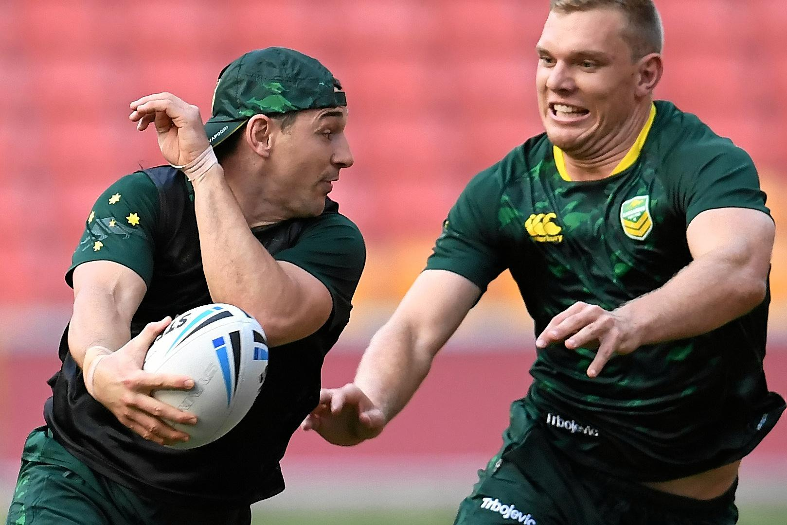 Billy Slater (left) and Jake Trbojevic during training in Brisbane