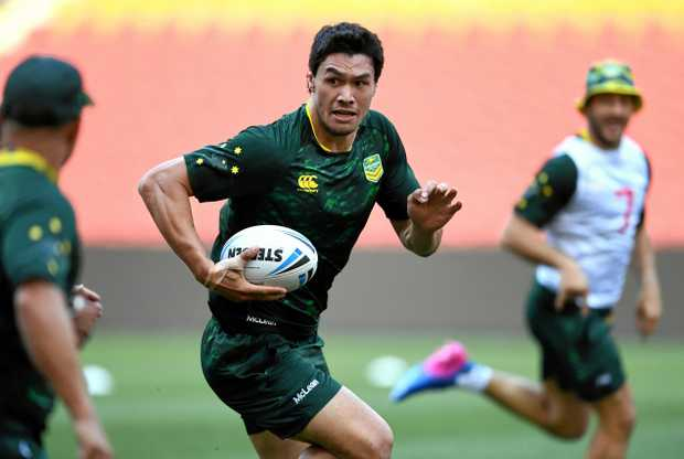 Jordan McLean during training in Brisbane ahead of the Kangaroos' opening Rugby League World Cup game against England in Melbourne on October 27.