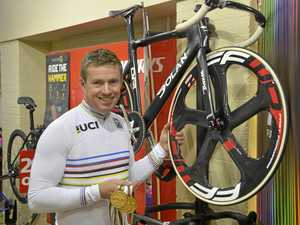 Toowoomba's Nathan Graves back on home soil this week with the bike that carried him to a triple gold medal win at the 2017 World Masters Track Cycling Championships in Los Angeles.