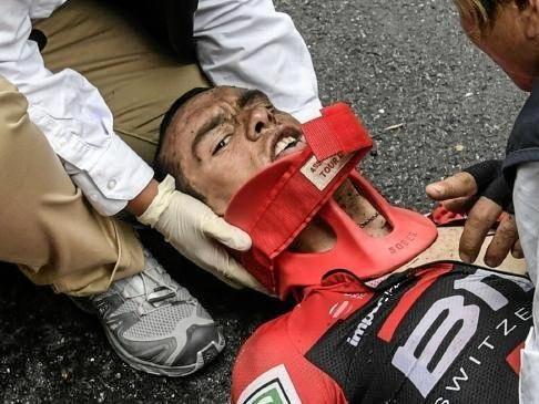 Richie Porte gets medical attention after his Tour De France crash.