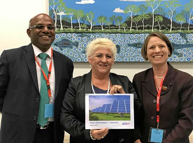 IN THE MIX: Capricornia MP Michelle Landry with Muthuraj Guruswamy (left) and Jennifer Purdie from Adani Australia Renewables has confirmed renewables will have a role to play in the Australia's future energy mix.