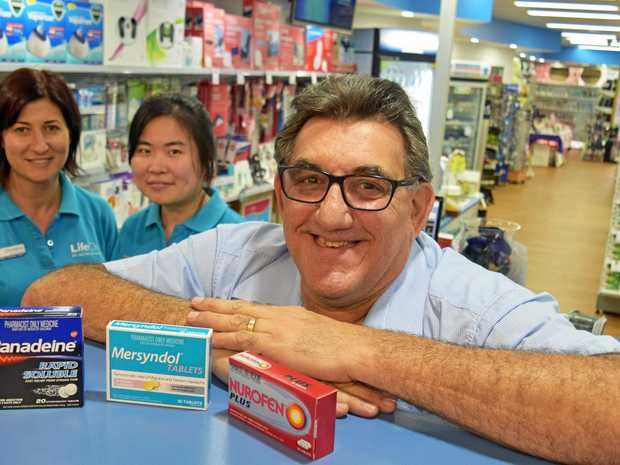 SERVICE: Pharmacist John Black, front, with staff Christine Schipp and Min Lin behind him at McDonalds Pharmacy in Casino.