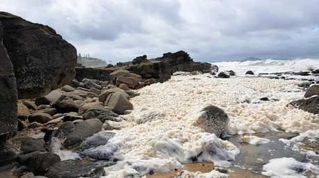 Foam froths on the foreshore at Mooloolaba.