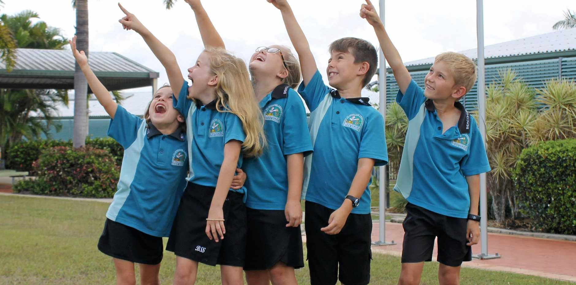 Beaconsfield State School students and potential future astronauts Kylah Sampson, 6, Olivia Laird, 7, Chloe Woods, 7, Albert Jackson, 9, and Riley Sampson, 8. They're looking forward to the hook-up with the International Space Station, which will be orbiting about 350km above Earth.