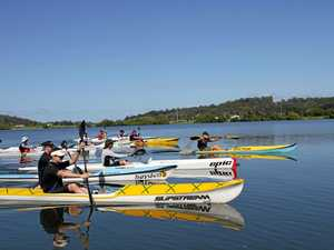 Paddlers kick off the third stage of the 2015 inaugural Clarence 100 at Maclean. The paddle will start at Copmanhurst before finishing two days later in Yamba.