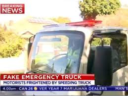The teenager was arrested for allegedly driving a fake emergency services truck.