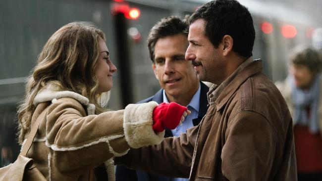 Grace Van Patten congratulates Adam Sandler on taking the acting plaudits for The Meyerowitz Stories, while Ben Stiller looks on.