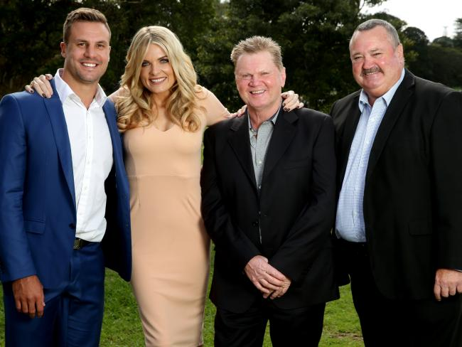 Paul Vautin (second from right) and Daryl Brohman (far right) have both been dumped from The Footy Show. They are pictured with Beau Ryan (far left) and Erin Molan (second from left) Picture: Gregg Porteous
