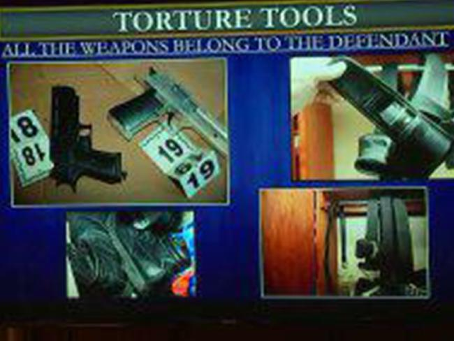 Some of the tools Aguirre allegedly used to torture Gabriel including BB guns. Picture: KTLA