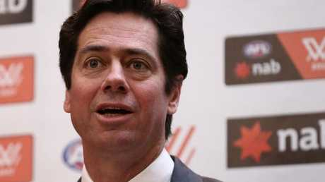 Gillon McLachlan, Chief Executive Officer of the AFL, announcing the AFLW teams that will compete as part of the league's expansion in September. Picture: Robert Cianflone/Getty Images.
