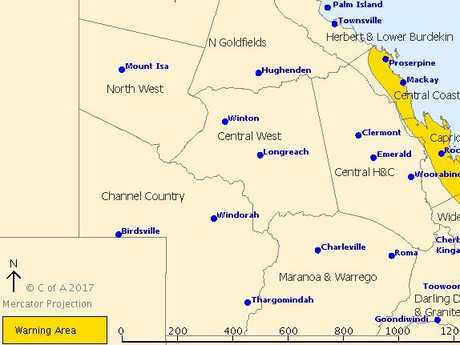 Severe weather warning for CQ issued 11pm October 18, 2017.