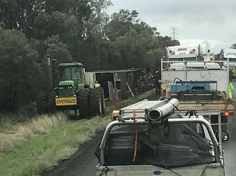 The scene of the truck rollover on the Warrego Hwy about 40km west of Miles.