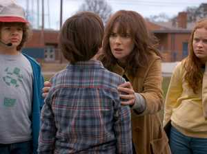 Gaten Matarazzo, Winona Ryder, Sadie Sink and Noah Schnapp in a scene from season two of Stranger Things.