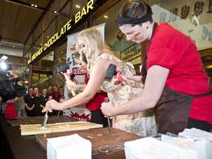 70kg free chocolate! Hundreds at Max Brenner opening