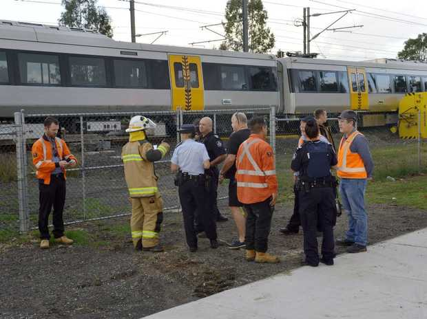 Two people were on board a train that derailed at Wulkuraka.