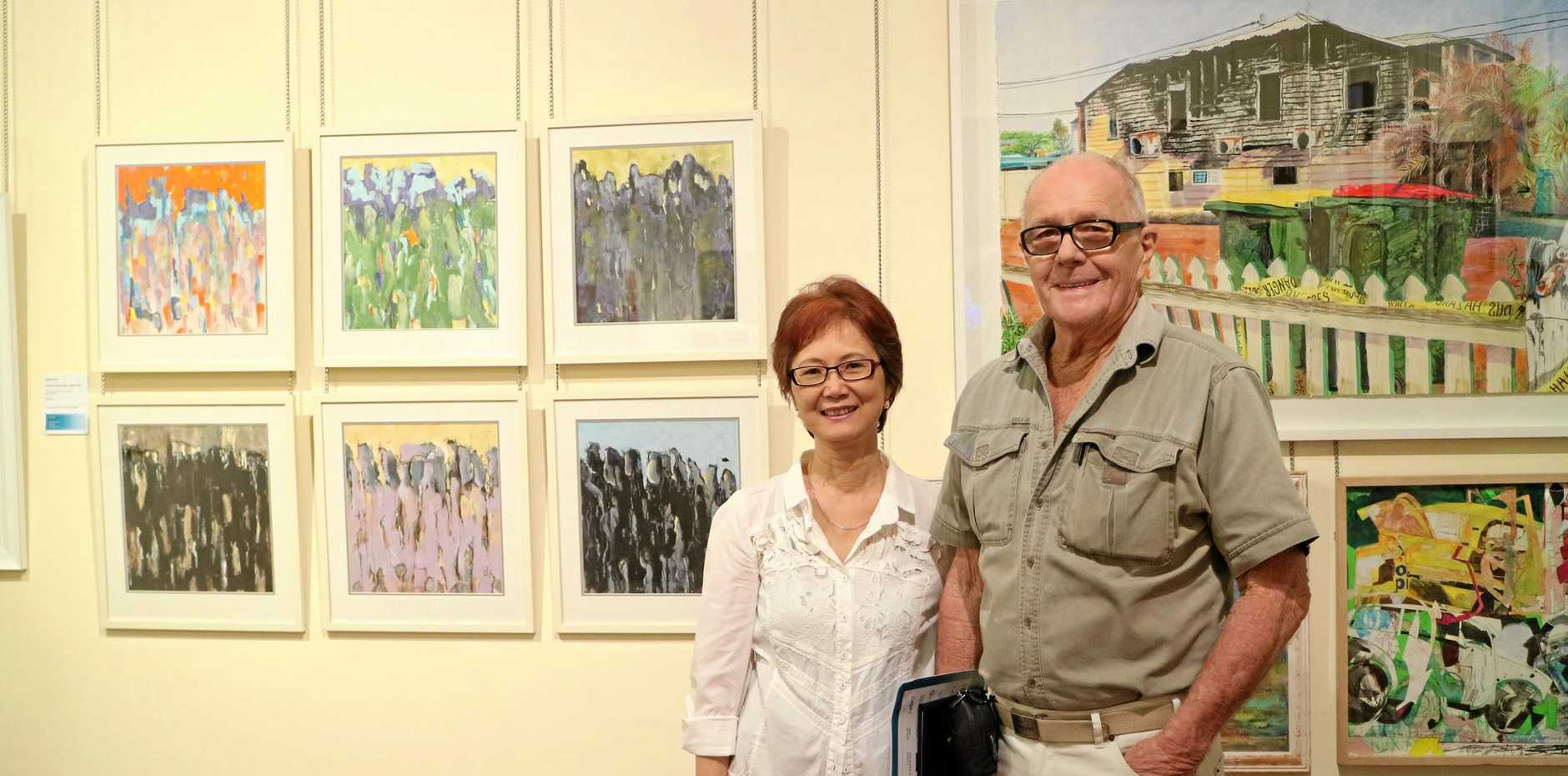 BIG NIGHT: Suyee and Lynn Clifford during the opening of the Martin Hanson Memorial Art Awards.